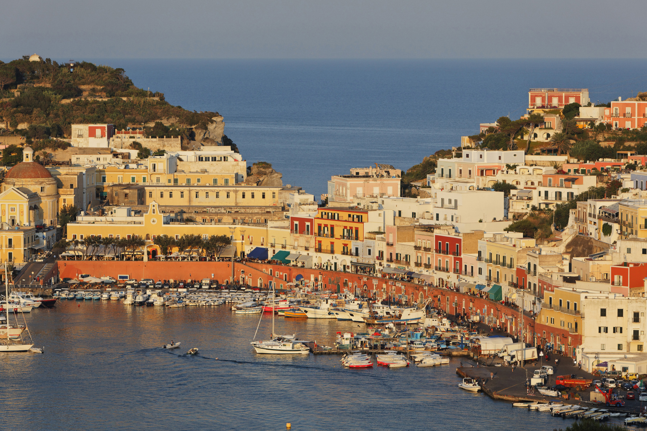 View of port and the town of Ponza, Island of Ponza, Pontine Islands, Lazio, Italy, Europe